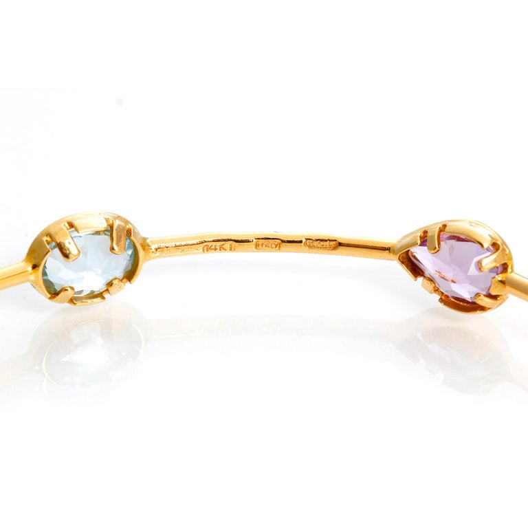 14 Karat Yellow Gold Amethyst, Aquamarine and Citrine Bracelet For Sale 1