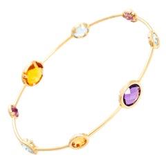 14 Karat Yellow Gold Amethyst, Aquamarine and Citrine Bracelet