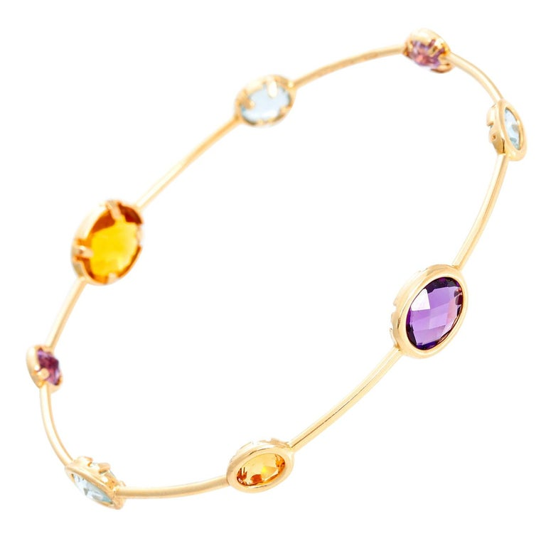 14 Karat Yellow Gold Amethyst, Aquamarine and Citrine Bracelet For Sale