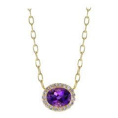 14 Karat Yellow Gold Amethyst Pendant and Tanzanite Halo Necklace