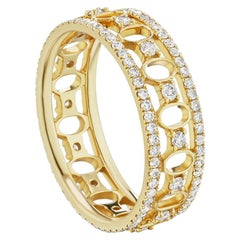 14 Karat Yellow Gold and Diamond Gallery Band