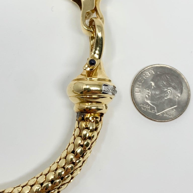 14 Karat Yellow Gold and Diamond Horse Bit Buckle Bangle Bracelet In Good Condition For Sale In Brandford, CT