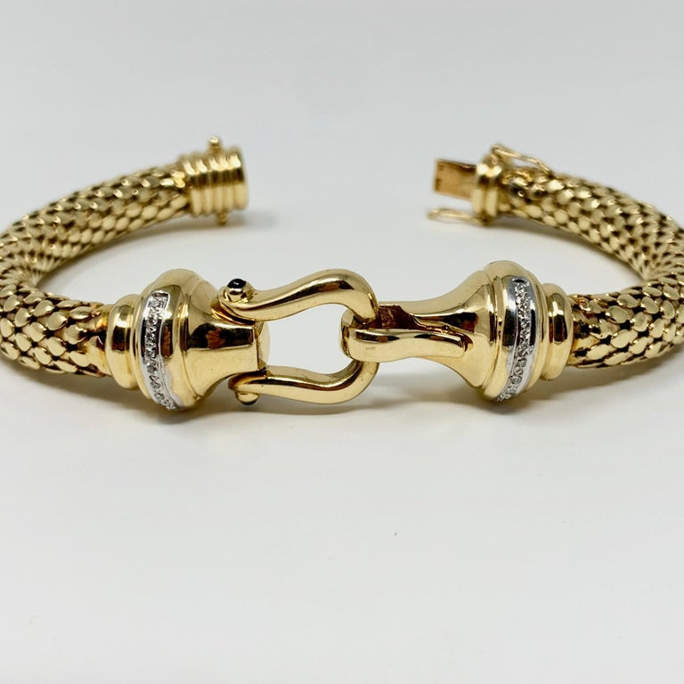 Women's 14 Karat Yellow Gold and Diamond Horse Bit Buckle Bangle Bracelet For Sale