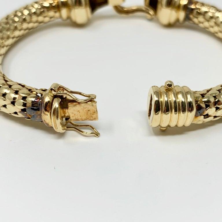 14 Karat Yellow Gold and Diamond Horse Bit Buckle Bangle Bracelet For Sale 1