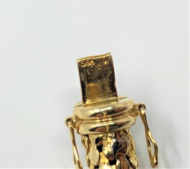 14 Karat Yellow Gold and Diamond Horse Bit Buckle Bangle Bracelet For Sale 3