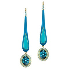 14 Karat Yellow Gold and Enamel London Blue Dangle Topaz Earrings