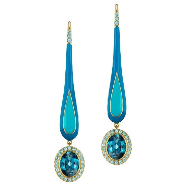 14 Karat Yellow Gold and Enamel London Blue Dangle Topaz Earrings For Sale