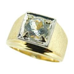 14k Yellow Gold and Platinum Men's Genuine Natural Aquamarine Ring '#J4724'