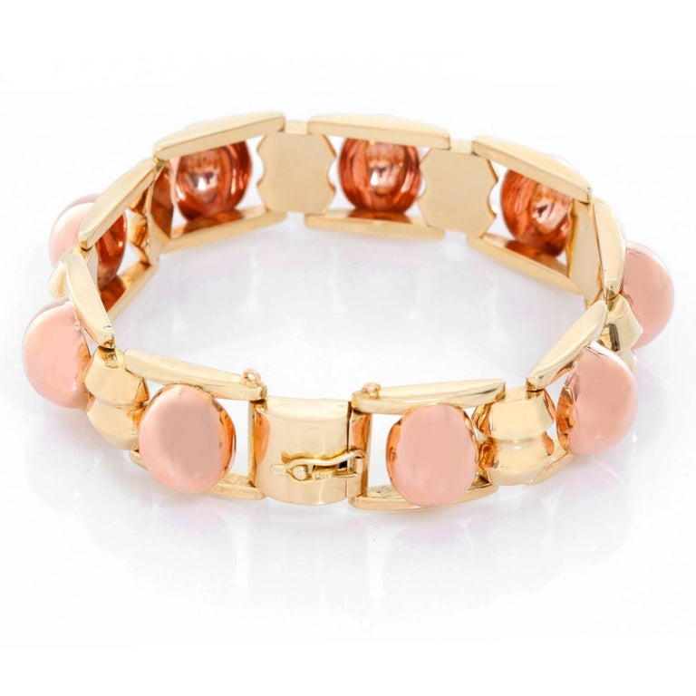 14K Yellow Gold and Rose Gold Bracelet - . Stunning 14K Yellow Gold and  Rose  Gold Link bracelet, with box clasp and safety. 7 1/4 inches in length. Width 5/8 inches. Total weight 26.60 grams. Wearable to dress up or down. Circa 1940's.