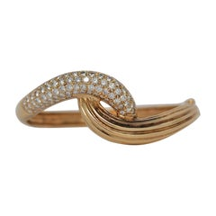 14K Yellow Gold and Round Diamond Braided Bangle Bracelet, 4.65 Carats
