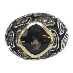 14k Yellow Gold and Sterling Silver Smokey Quartz and Diamond Antiqued Ring