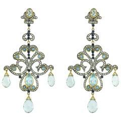 14 Karat Yellow Gold Aquamarine 3.12 Carat Diamond Sapphire Dangle Earrings