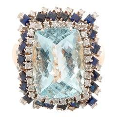 14 Karat Yellow Gold Aquamarine, Sapphire and Diamond Ring