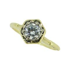 14k Yellow Gold Art Deco 1/2ct Genuine Natural Diamond Ring '#J4629'
