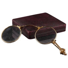 14k Yellow Gold Art Deco Filigree Lorgnette Glasses