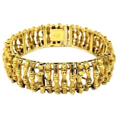 14 Karat Yellow Gold Bamboo Link UnoAErre Bracelet