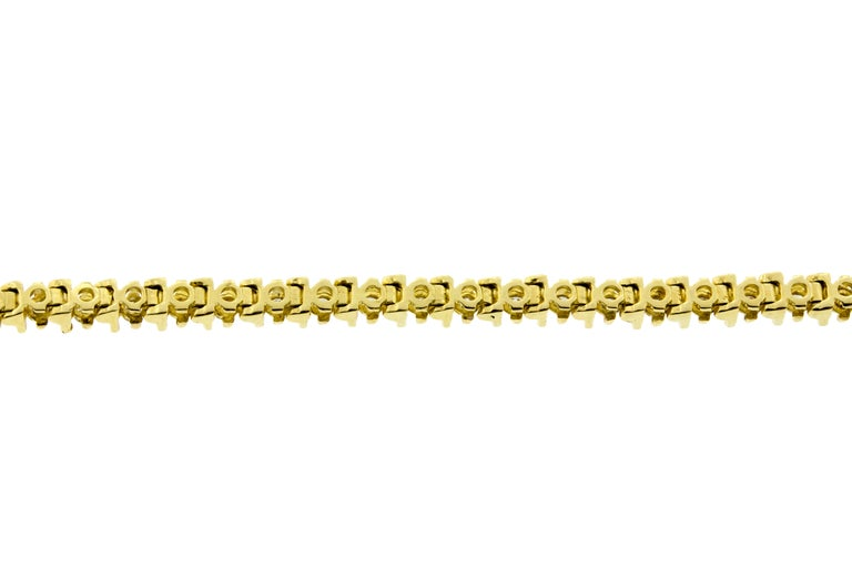Contemporary 14 Karat Yellow Gold Barlink Tennis Bracelet For Sale