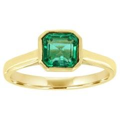 14K Yellow Gold Bezel Asscher Green Emerald Solitaire Ring 'Center- 1.2 Carat'