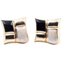 14 Karat Yellow Gold Black and White Enamel Earrings