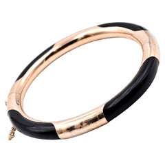 14 Karat Yellow Gold Black Jade Bangle Bracelet