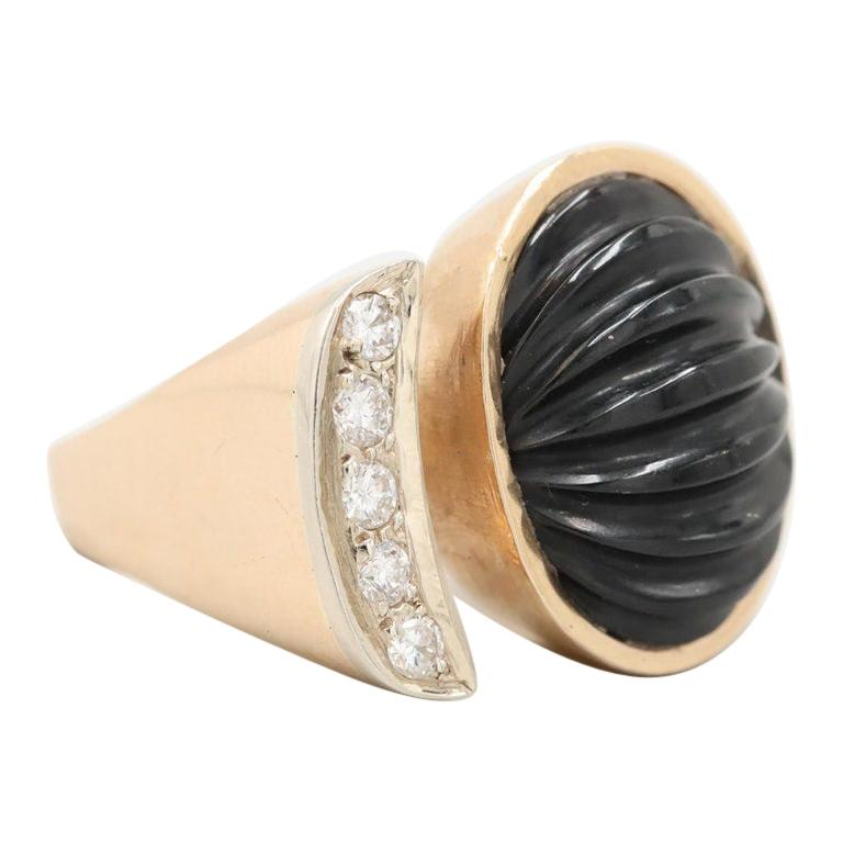 14 Karat Yellow Gold Black Onyx and Diamond Ring