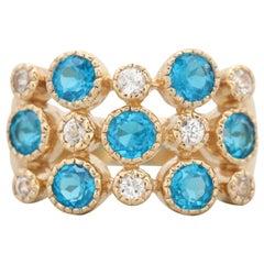 14 Karat Gold Blue Apatite and White Zircon Ring Bezel Set 3-Row Fashion Ring