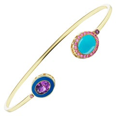 14k Yellow Gold Blue Enamel, Turquoise Cabochon and Pink Sapphire Cuff Bracelet
