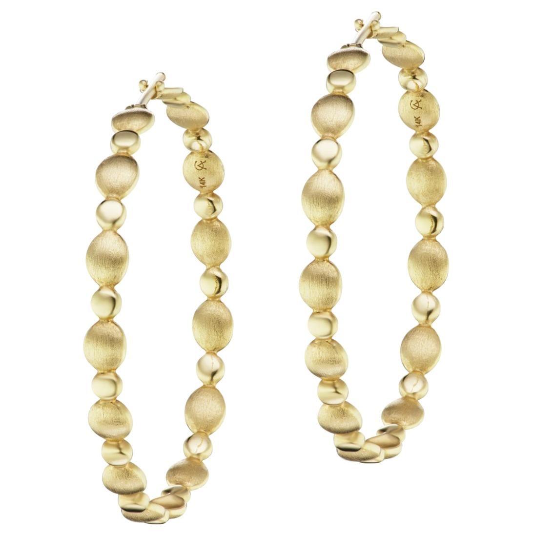 14 Karat Yellow Gold Brushed Motif Hoop Earring