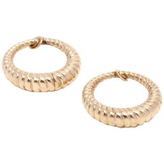 14 Karat Yellow Gold Cable Clip-On Hoop Earrings