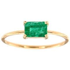 14K Yellow Gold Cara Green Rustic Emerald Solitaire Ring 'Center-0.60 Carat'