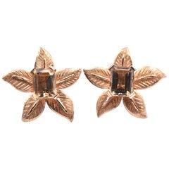 14 Karat Yellow Gold Citrine Flower Stud Earrings