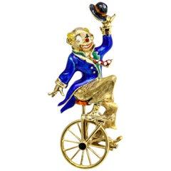 14 Karat Yellow Gold Clown Riding a Unicycle Enamel Brooch