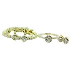 14 Karat Gold Crown of Light Diamond Set Including Bracelet Ring and Earrings