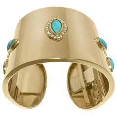 14K Yellow Gold Cuff with 24 Round Diamonds 0.60 Carat and 9 Turquoise by Manart