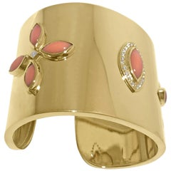 14K Yellow Gold Cuff with 24 Round Diamonds 0.60ct and Coral Cabachons by Manart