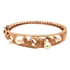 14 Karat Yellow Gold Cultured Pearl Hinged Bangle