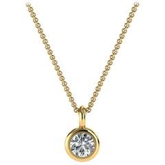 14K Yellow Gold Delicate Bezel Solitaire Diamond Pendant 'Center- 1/6 Carat'