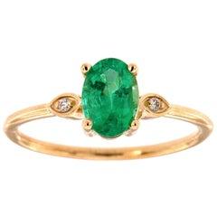 14K Yellow Gold Delicate Oval Green Emerald Diamond Ring 'Center-0.79 Carat'