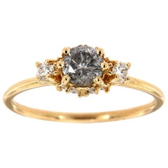14K Yellow Gold Delicate Round Salt and Pepper Diamond Ring Center: 0.46 Carat