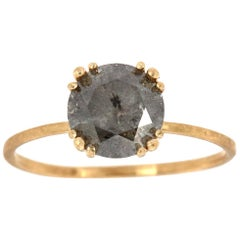 14K Yellow Gold Delicate Round Salt and Pepper Diamond Ring 'Center -1.73 Carat'