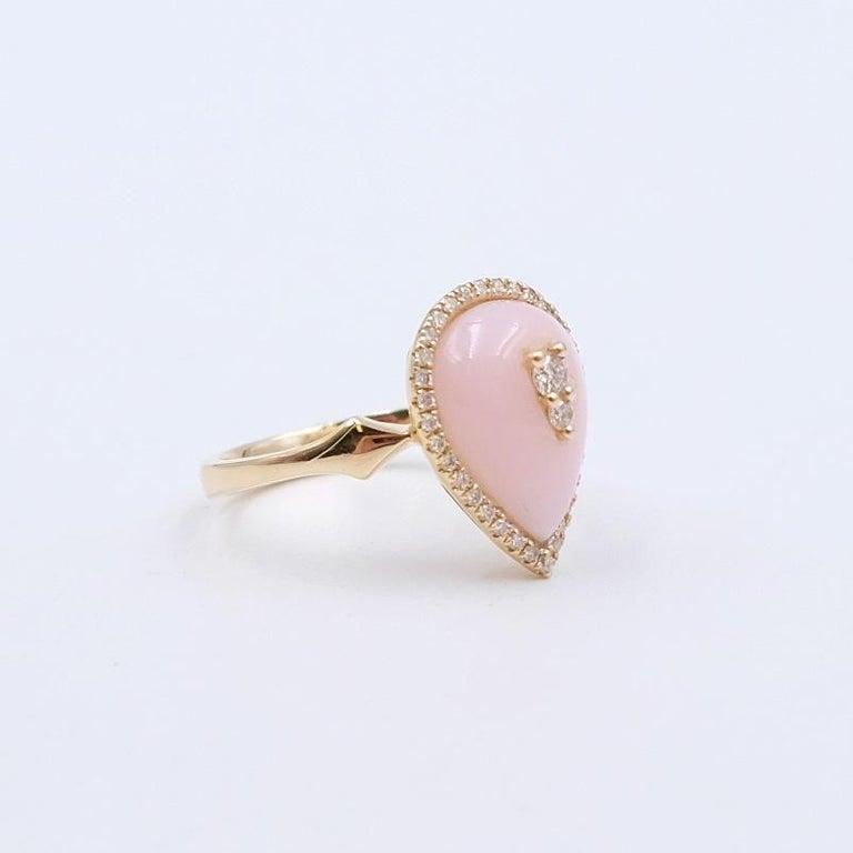 Year: - Hallmark: - Dimensions: size 6.5  Materials: 14K Yellow, Pink Opal, Diamonds 0.25ct