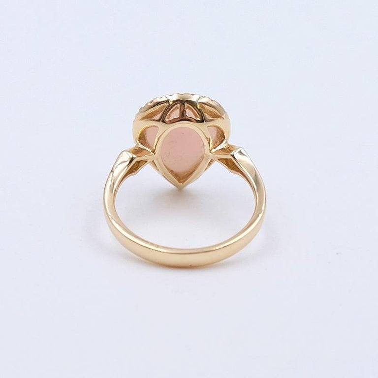 Brilliant Cut 14K Yellow Gold Designer Pink Opal and Diamonds 0.25ct Ring size 6.5 For Sale
