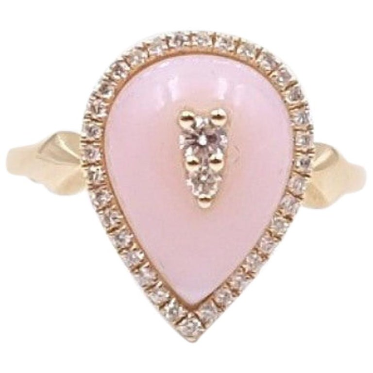 14K Yellow Gold Designer Pink Opal and Diamonds 0.25ct Ring size 6.5 For Sale