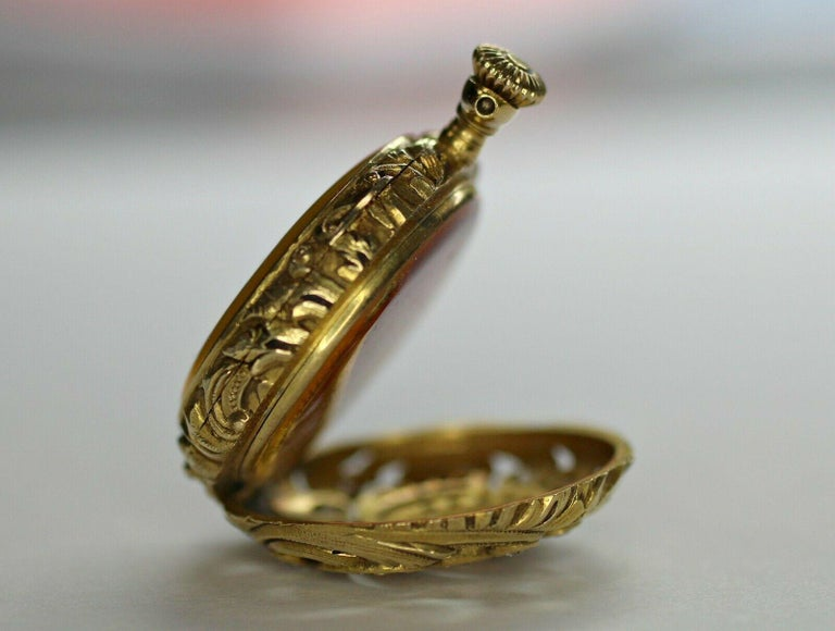 Art Deco 14 Karat Yellow Gold Diamond and Enamel Pocket Watch For Sale