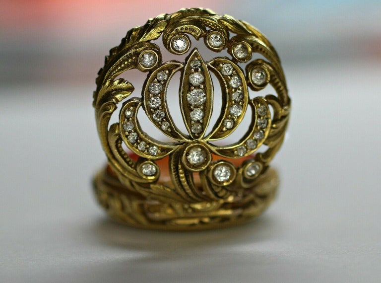 Women's or Men's 14 Karat Yellow Gold Diamond and Enamel Pocket Watch For Sale