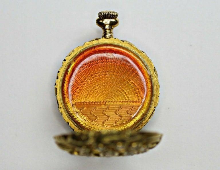 14 Karat Yellow Gold Diamond and Enamel Pocket Watch For Sale 1