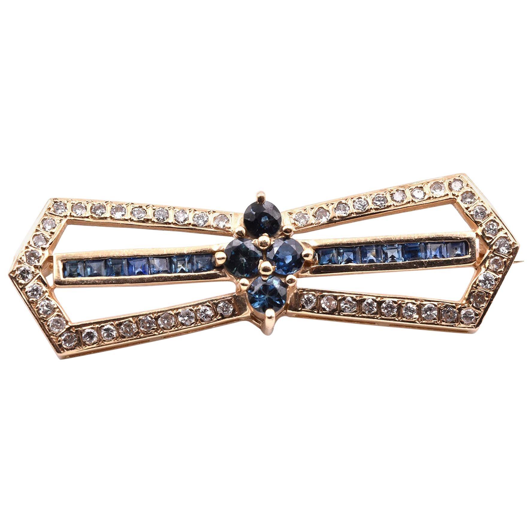 14 Karat Yellow Gold Diamond and Sapphire Pin