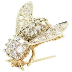 "14k Yellow Gold Diamond ""Bee"" Brooch"