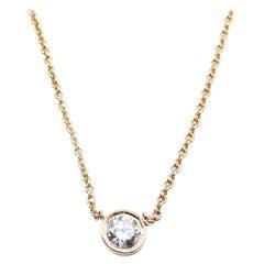 14 Karat Yellow Gold Diamond Bezel Set Necklace
