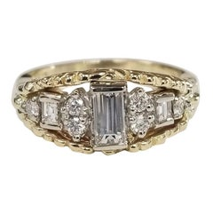 14k Yellow Gold Diamond Emerald Cut Diamond Ring with White Gold Insert